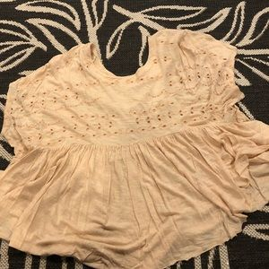 Free people sz M flowy cream/tan blouse floral